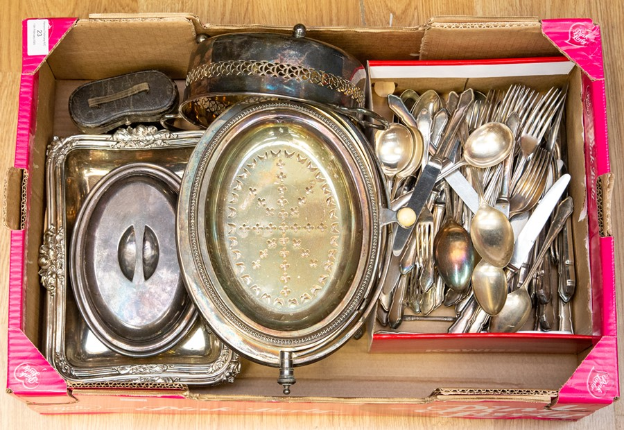 Lot 23 - A collection of silver plated items, comprising breakfast serving dish with cover, two handled dish,