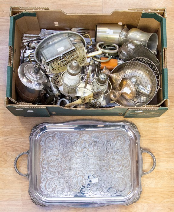 Lot 19 - A collection of silver plate/EPNS/white metal including large two handled tray; teaware, condiments,