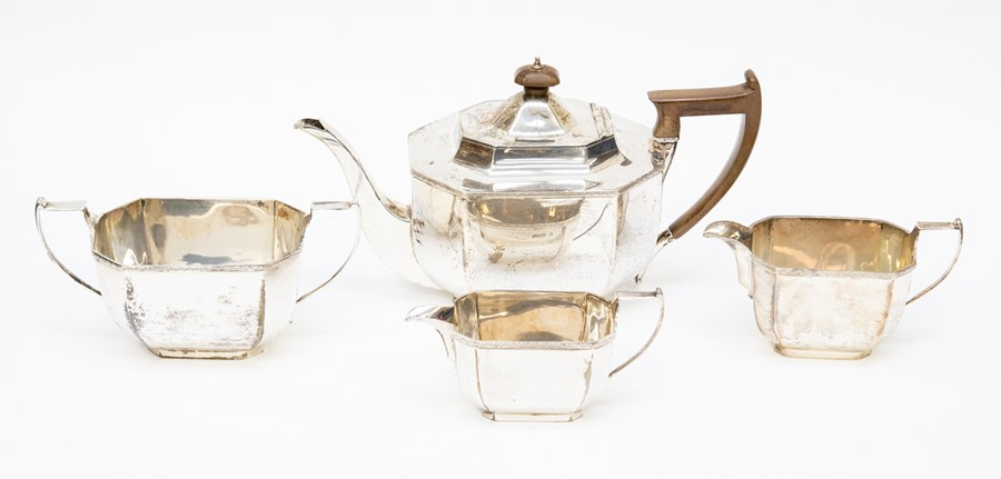 Lot 31 - A four piece tea service George V, Sheffield 1921, one milk jug Sheffield 1927, all marks for Thomas