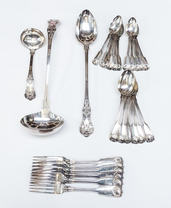 Lot 8 - A collection of 19th Century style silver-plate flatware, including Fiddle thread and shell table