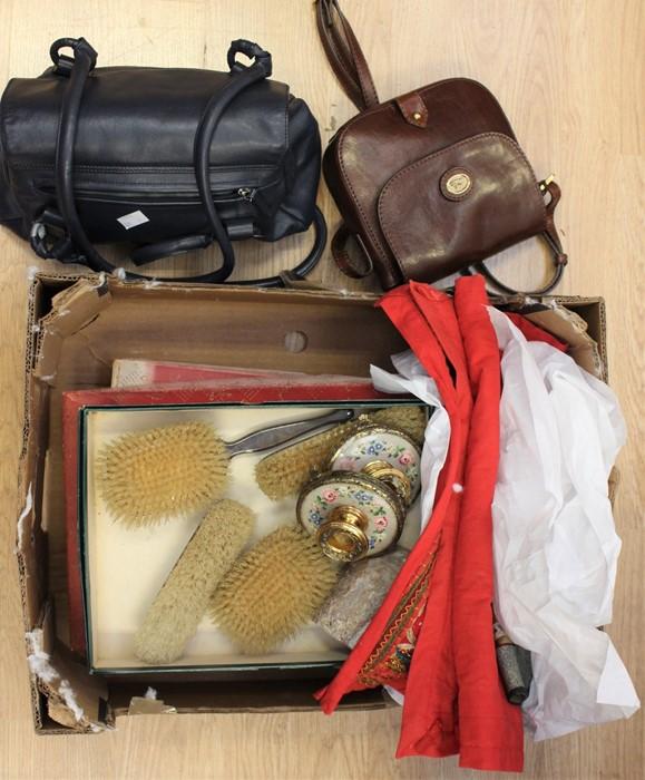 Lot 3208 - A ladies lot of dressing table sets, 20th Century, ladies handbags, needle works etc