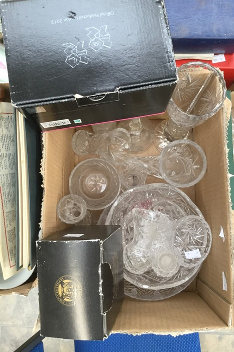 Lot 1334 - A collection of cut and moulded glass including a pair of Waterford crystal tumblers to