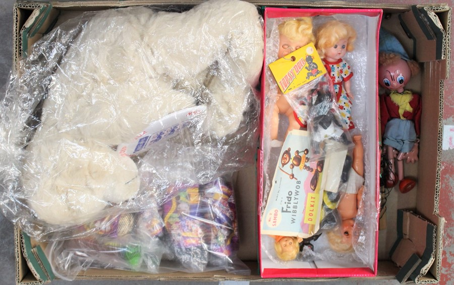 Lot 3152 - Doll collection: 'Topsy' in original packet, 'Frido' Wibblywob doll kit in original packet, French