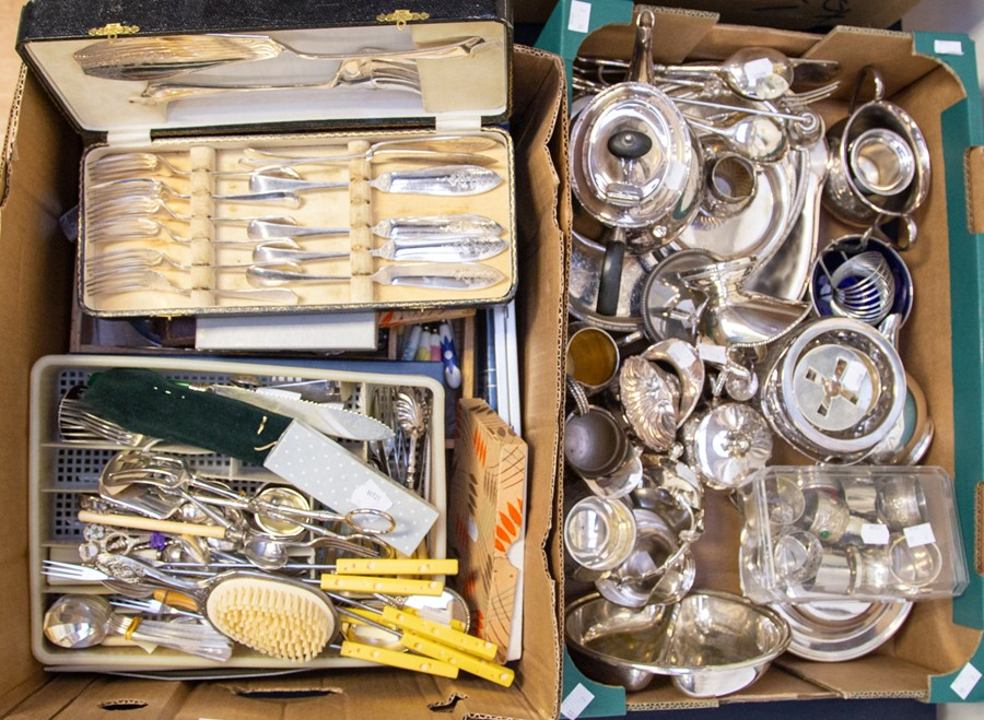 Lot 18 - A collection of silver plate/EPNS/white metal including teaware, napkin rings, serving dishes,