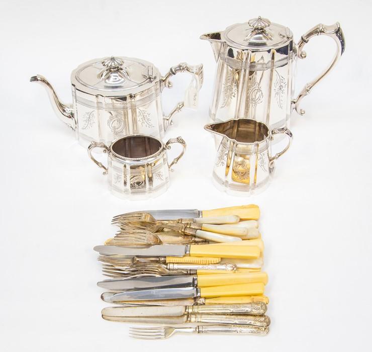 Lot 3 - An EPNS tea service comprising tea and coffee pot, ,milk jug and sugar bowl, engraved patter,