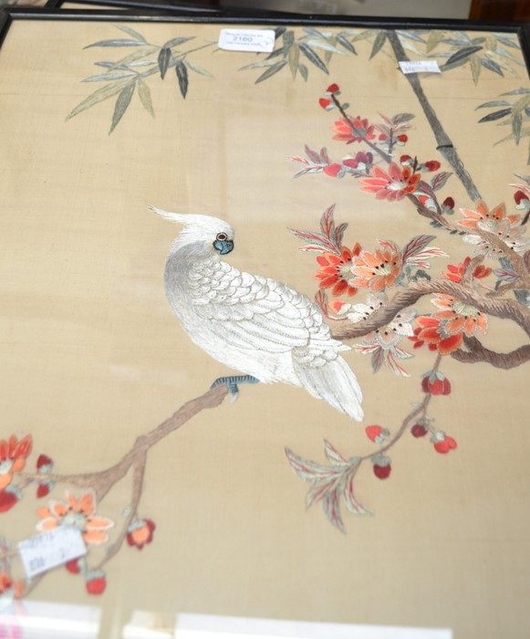 Lot 2160 - Two early 20th Century Chinese style embroidered panels both depicting birds, framed