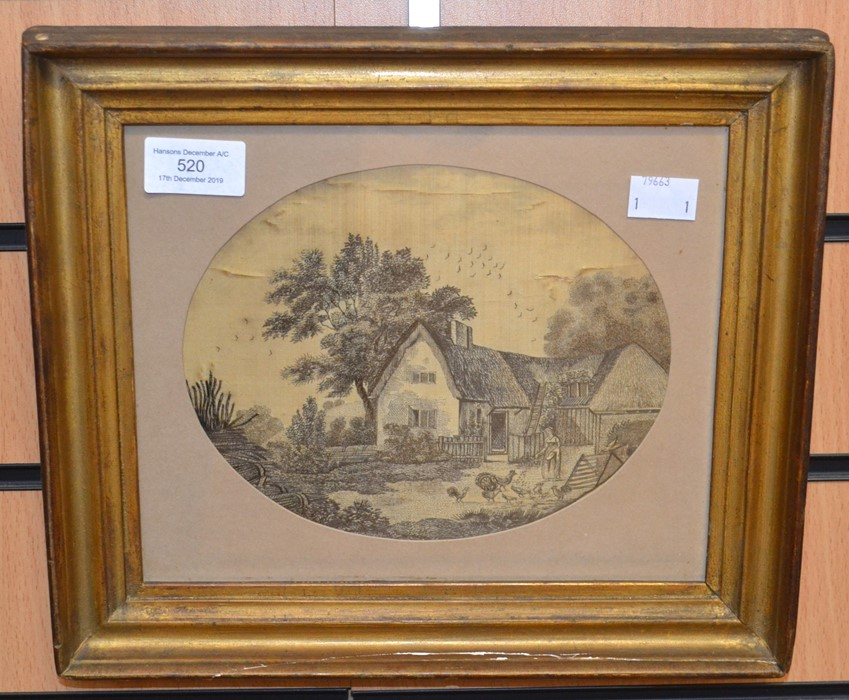 Lot 2003 - A framed and glazed, mid-19th Century, human hair embroidery picture, depicting 'Cottage and