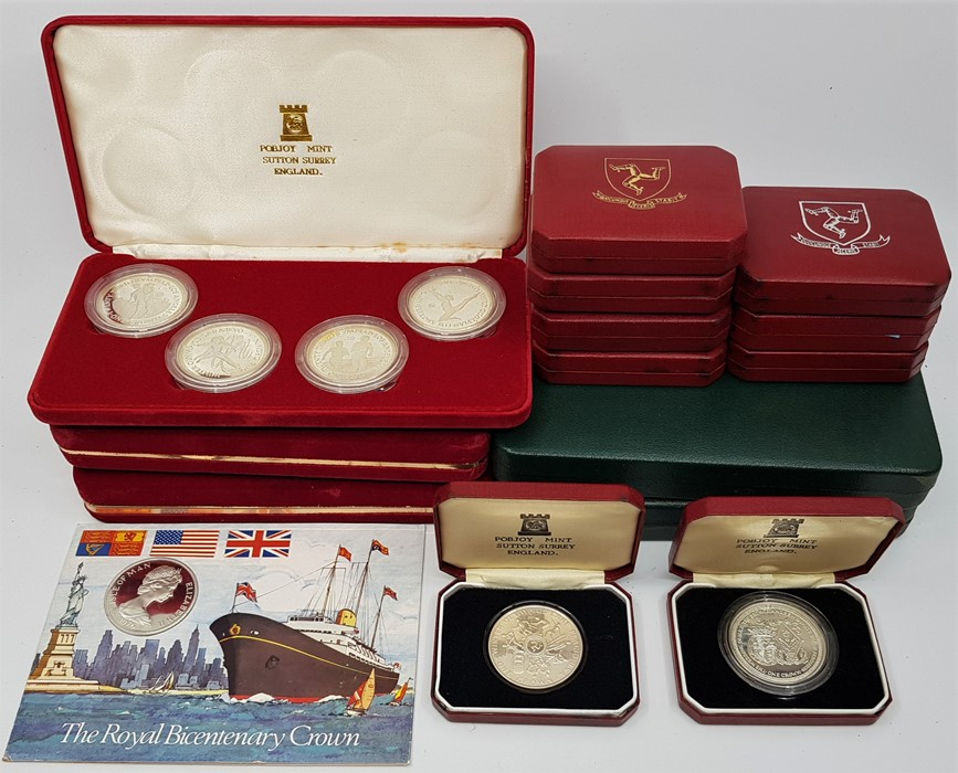 Lot 300 - Five Isle of Man silver proof commemorative Crown Sets:Two 1979 one Crown sets, Millenium of