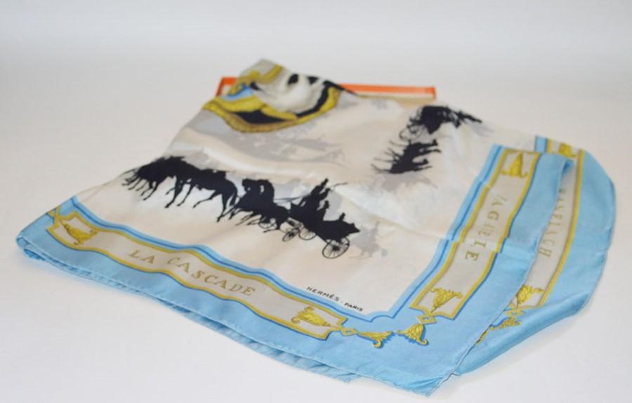 Lot 3319 - Hermes, a Le Bois de Bologne silk scarf, in the original box with ribbon