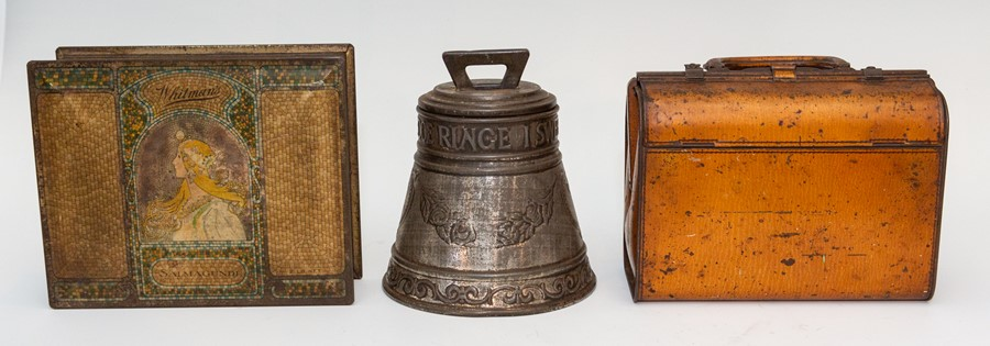 Lot 2536 - Two vintage Huntley & Palmers novelty biscuit tins, one in the form of a bell, the other a Gladstone