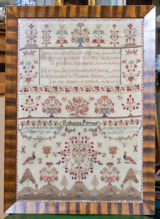 Lot 2528 - A William IV textile sampler, scroll border containing a motto, pot plants and other flowering