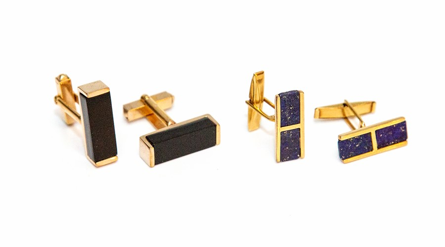 Lot 2004 - Two pairs of post-war yellow metal gents cufflinks, one pair set with lapis lazuli, the other with