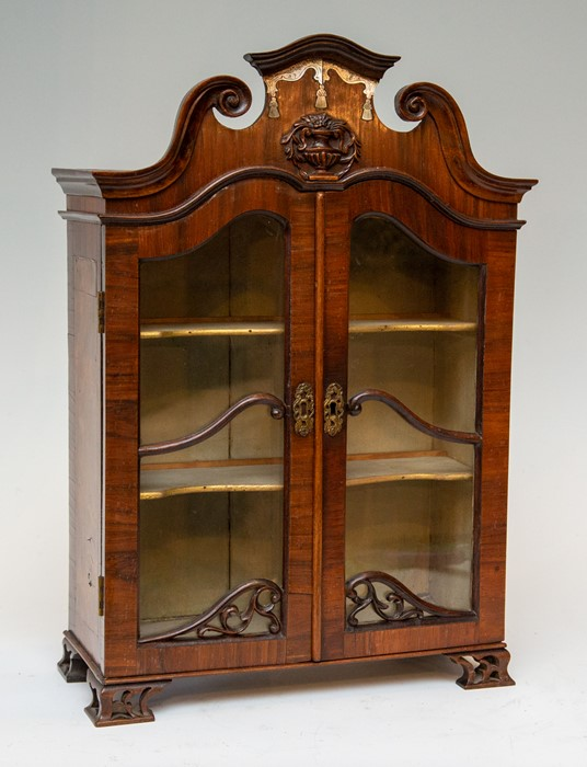 Lot 2537 - An 18th Century mahogany miniature or apprentice vitrine, oak carcass, arched and broken scroll
