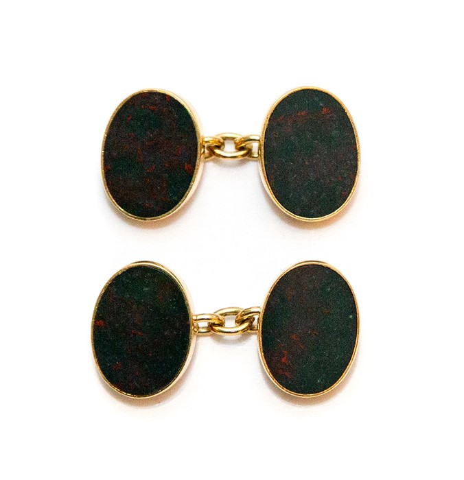 Lot 2005 - A pair of gents 18ct gold oval sleeve links, inset moss agate panels, approximate weight all in 14