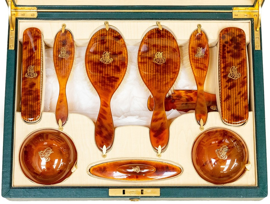 Lot 2506 - An Edwardian Asprey of London tortoiseshell dressing table set, complete with two hair brushes,