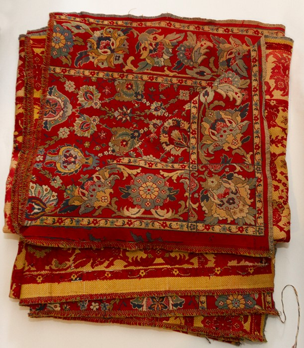 Lot 3304 - Two French woven large panels, 300 cms x 125 cms approx. The panels came from a French Chateau (
