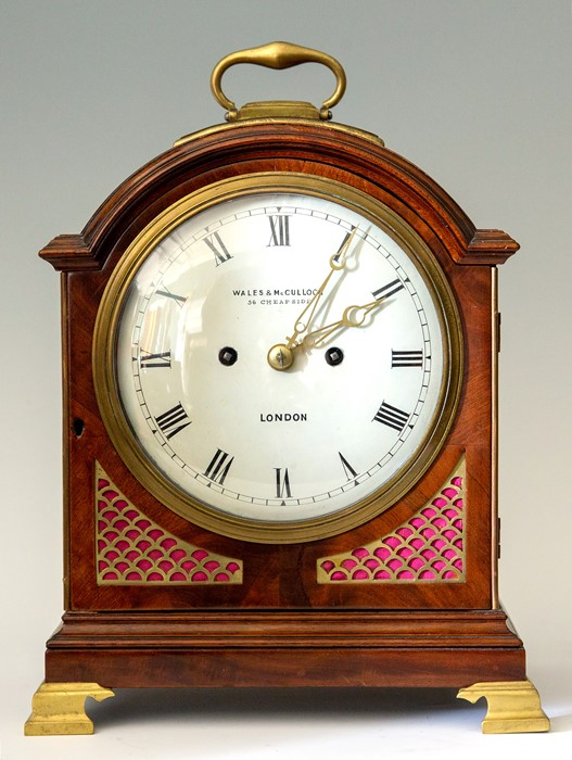 Lot 3007 - Wales & McCulloch, London, a mid 19th Century mahogany bracket clock, circa 1845. the arched case