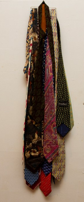 Lot 3307 - A collection of silk ties, to include Liberty - Lawen, Tiffany Farrongmo - Hermes - Boss, Dunhill,