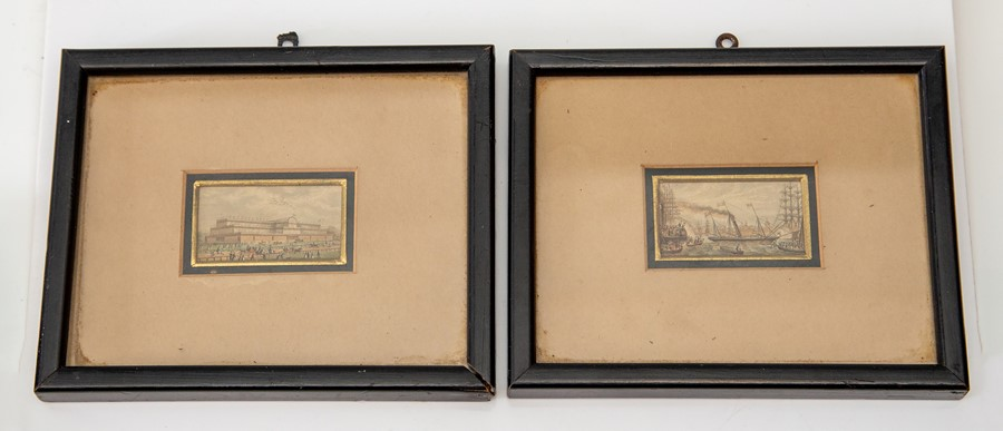 Lot 2527 - British School, mid 19th Century, Crystal Palace and a shipping scene, a pair, watercolour, 2.5 by