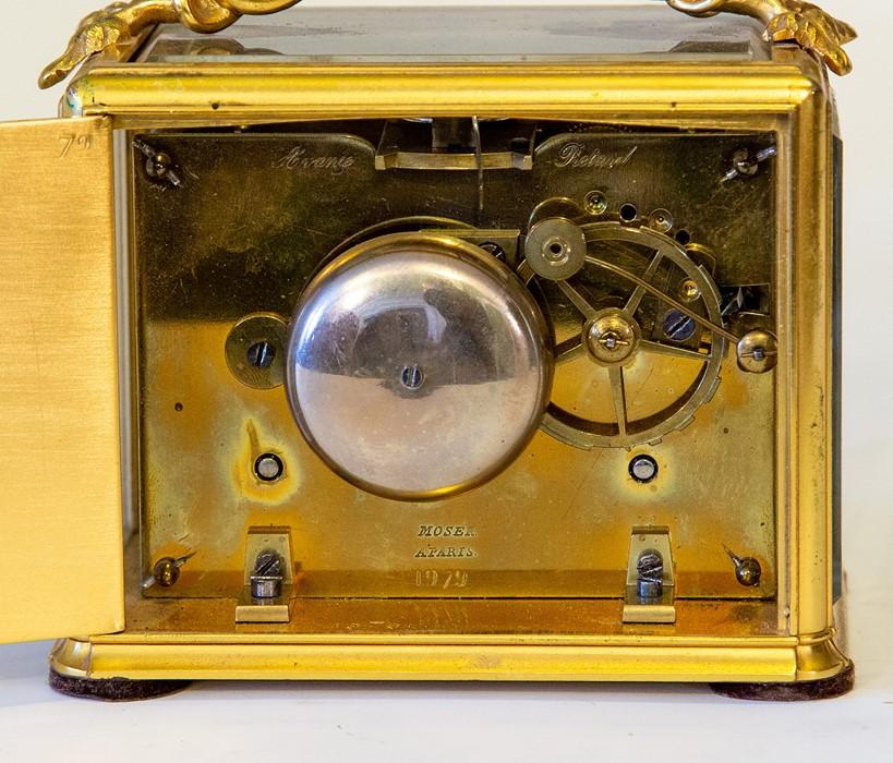Lot 3006 - Moser, Paris, a mid 19th Century gilt metal bracket clock, (originally part of a larger component/