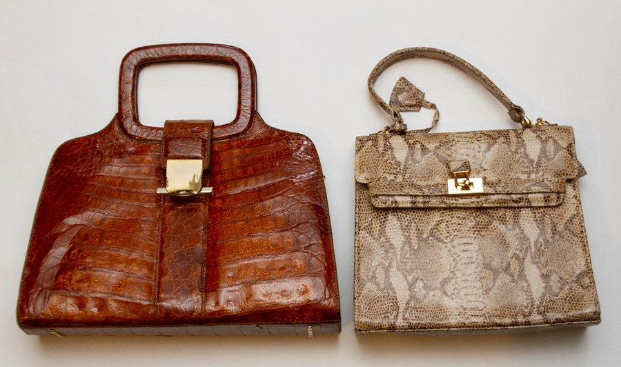 Lot 3329 - A Italian Tan late 1950s crocodile bag in a square design with a croc handle and metal clasp