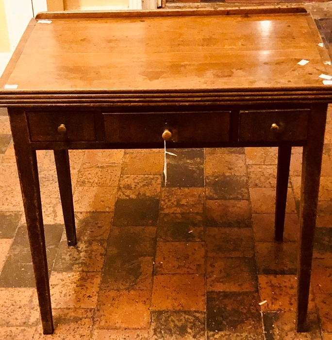 Lot 3212 - A George III mahogany folding architect's table, circa 1780, three frieze drawers on tapered