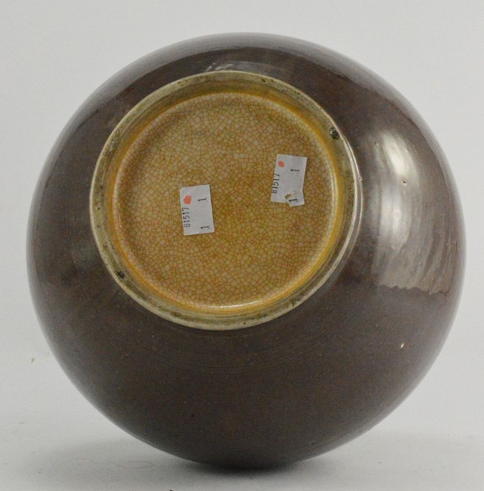 Lot 2473 - A 19th Century Chinese brown flambe bottle vase, crackle glaze to the interior and base, unmarked,