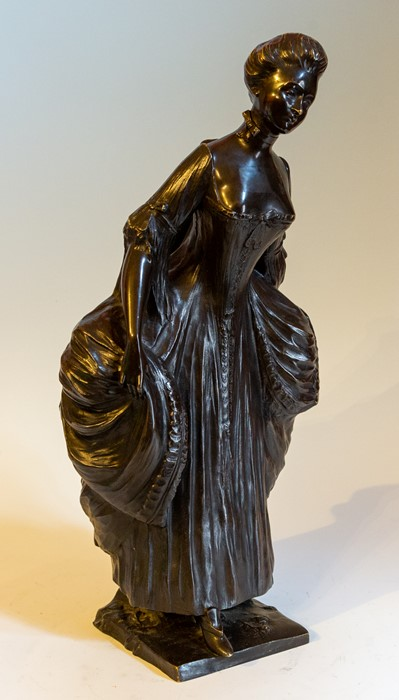 Lot 2538 - A French bronze figure of a lady, signed, 53cm high