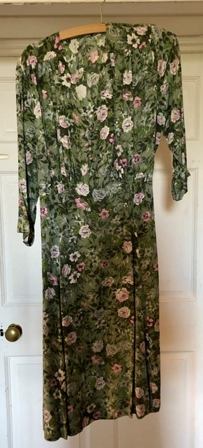 Lot 3327 - A collection of 1940's dresses, floral dresses (all bespoke); one green floral; one turquoise floral