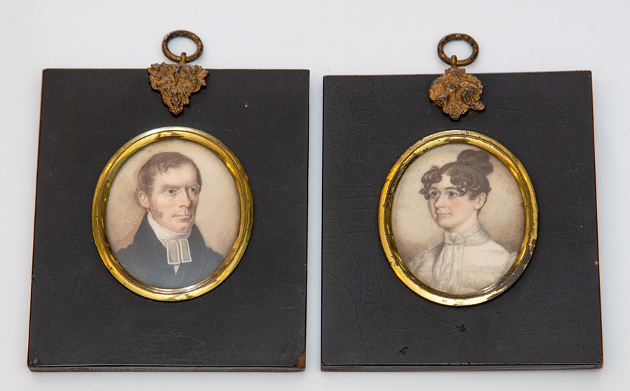 Lot 2524 - A near pair of mid 19th Century oval portrait miniatures on ivory, circa 1840, lady, bust length