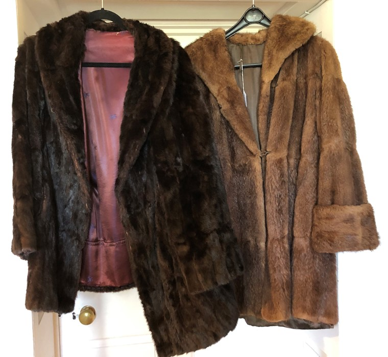 Lot 3306 - Two fur coats; one dark brown squirrel, early 1950's and a 1950's musquash light brown, turned