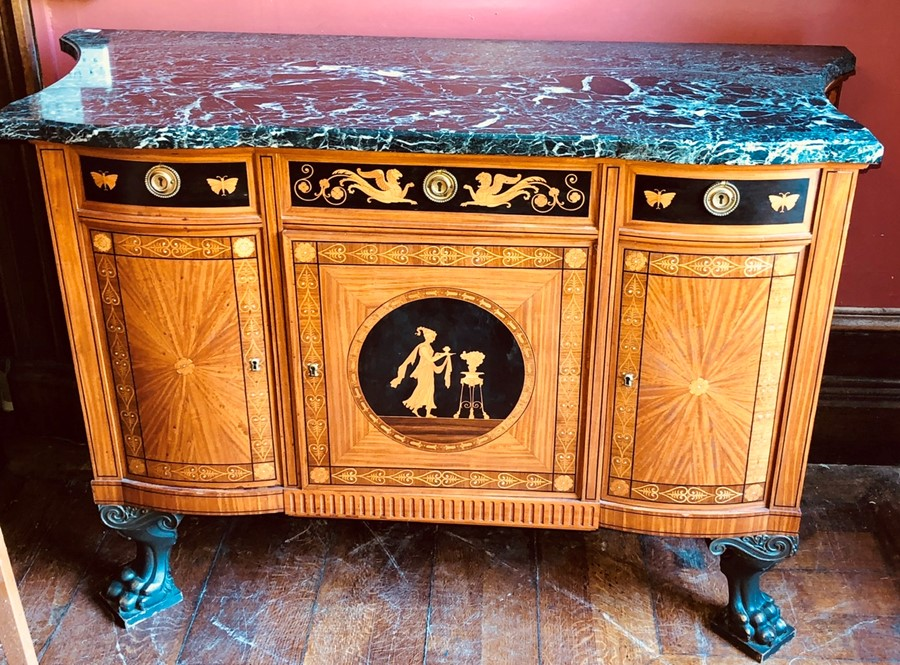 Lot 3041 - A French empire design marquetry, satinwood and ebonised inlaid sideboard with green marble top,