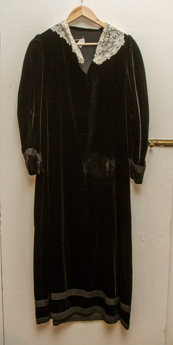 Lot 3323 - A Black Satin Late Edwardian Long Bodice and Belt with Diamond Buckle and skirt, the matching long
