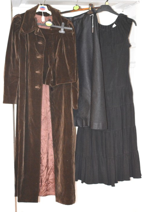 Lot 3318 - A late 1960s/ early 70s velvet chocolate brown midi coat and hot pants to match. A late 1950s