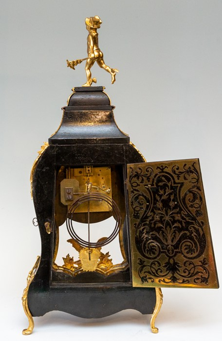 Lot 3002 - A 19th Century French boulle work balloon bracket clock, circa 1870, of Rococo design, cast gilt