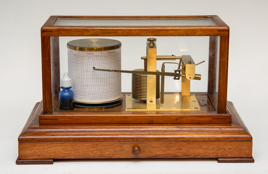 Lot 2505 - A vintage F.Darton & Co mahogany cased barograph, glazed cover, chart drawer to frieze, Serial No.