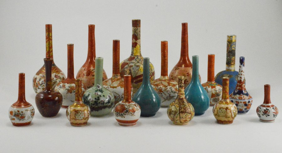 Lot 2486 - A collection of 19th Century Japanese Kutani bottleneck vases, with a pair of turquoise vases,