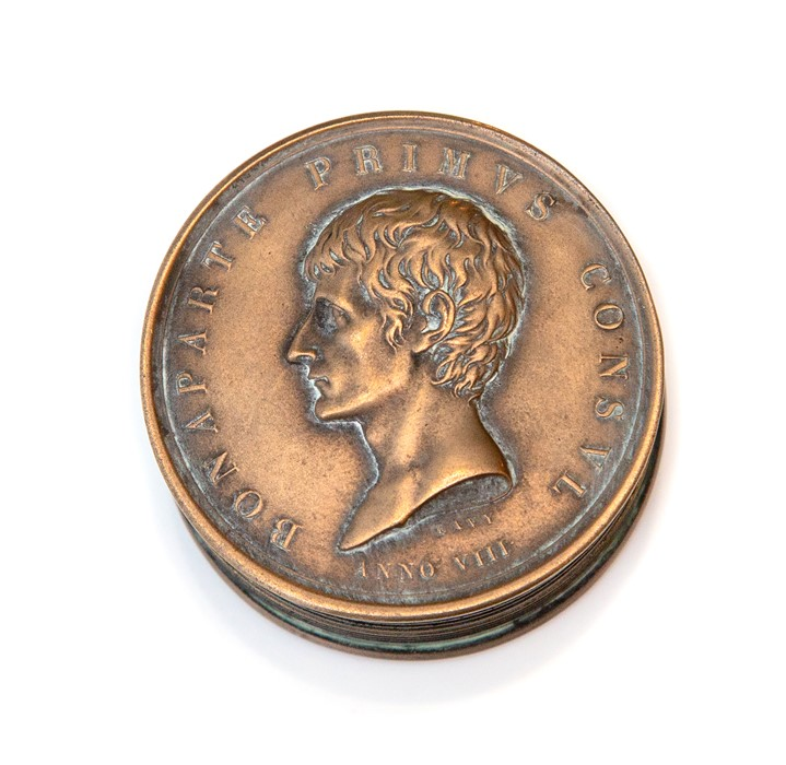 Lot 2523 - Napoleon Interest, a novelty cast metal pocket snuff box in the form a Napoleonic coin, screw top,