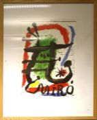 After Joan Miro (Spanish 1893 - 1983) A reproduction coloured print. 82 x 59cm Formally the propert