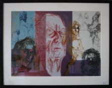 Feliks Topolski (Polish 1907-1989) A montage of thespians and playwrights. Lithograph. 46 x 63cm Fo