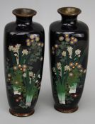 A pair of Japanese Taisho Toku shaped cloisonne vases