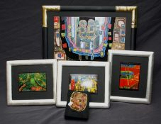 A collection of Hundertwasser calendar art framed prints together with a Hundertwasser 1975 Paris bo
