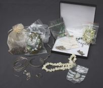 A quantity of silver white metal and costume jewellery, much set with semi-precious stones and quart