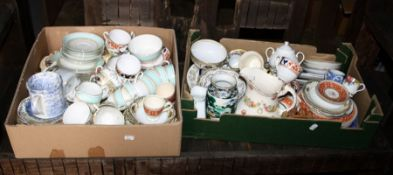 Three boxes of decorative and useful china and glass including a Royal Doulton figure Victoria, Nori