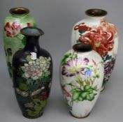 A collection of Japanese late Meiji period cloisonne vases, including Ginbari (4)