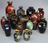 A collection of mostly Japanese Meiji cloisonne vases (14)