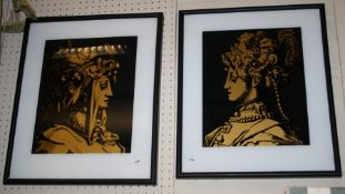 Three black and gilt furnishing prints on glass each head and shoulders of a young woman in ceremoni