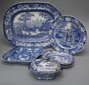 A small collection of blue and white transfer printed pottery to include a Bee-Master circular plate