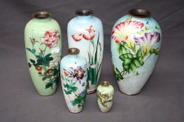 A collection of five Japanese Meiji cloisonne vases including Ginbari. 9 to 25cm (a/f)