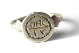 Roman Silver Ring 2nd -4th century AD, 25.23 mm, internal 20.32 mm. 8.82 grams. Inscribed with the